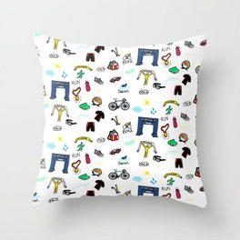 Triathlon Doodles Throw Pillow