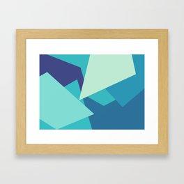 Retro Blue Mid-century Minimalist Geometric Line Abstract Art Framed Art Print