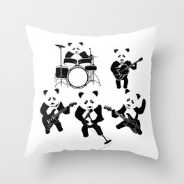 Panda Rock Band Throw Pillow