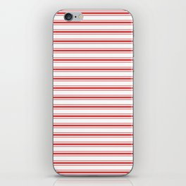 Mattress Ticking Wide Striped Pattern in Red and White iPhone Skin