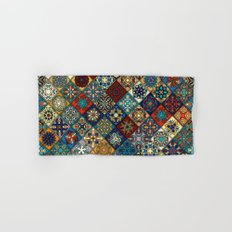 Vintage patchwork with floral mandala elements Hand & Bath Towel