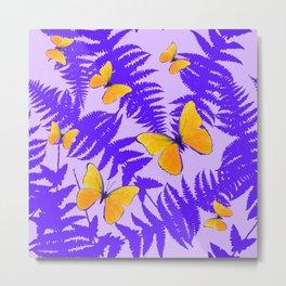 Modern Design Purple Fern Fronds Yellow Butterflies Metal Print