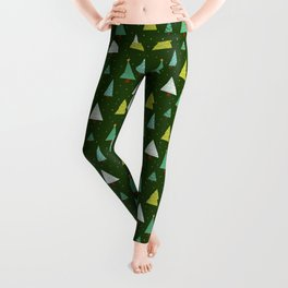 Holly Jolly Christmas Trees - Green Leggings
