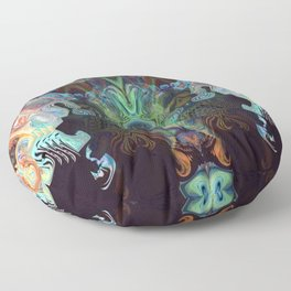 Birds of Paradise Peacock Feather Colors Floor Pillow