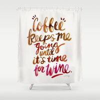 wine Shower Curtains featuring Coffee & Wine – Brown & Magenta Ombré by Cat Coquillette