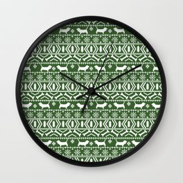 Basset Hound fair isle christmas pattern cute dog gifts for the holidays Wall Clock