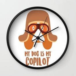 Dog Is My Copilot Funny Car and Dog Dachshund Weiner product Wall Clock