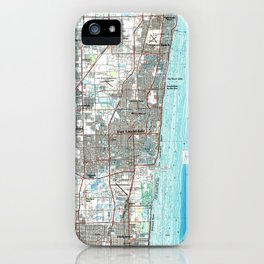 Fort Lauderdale Florida Map (1985) iPhone Case