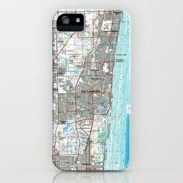 Fort Lauderdale Florida Map (1985) iPhone Case