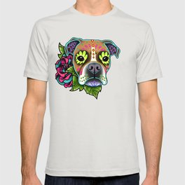 Boxer in White Fawn - Day of the Dead Sugar Skull Dog T-shirt