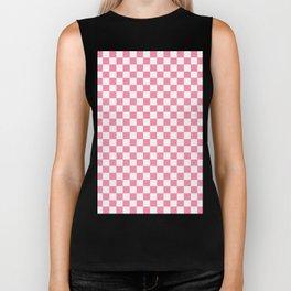Small Checkered - White and Flamingo Pink Biker Tank