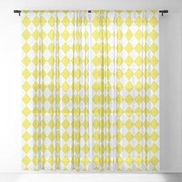 Highlighter Yellow Modern Diamond Pattern on White Sheer Curtain