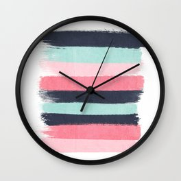 Cecily - abstract paint brush strokes paintbrush brushstrokes boho chic trendy modern minimal  Wall Clock