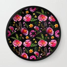 Vibrant Poppy Pattern Wall Clock