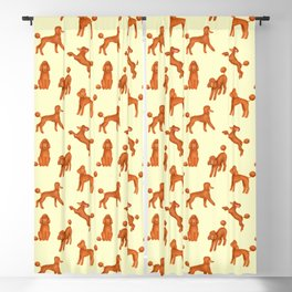 Red Poodles Pattern (Light Yellow Background) Blackout Curtain
