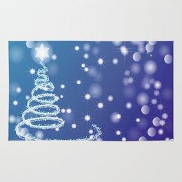 Christmas background with bokeh and snowflake Rug