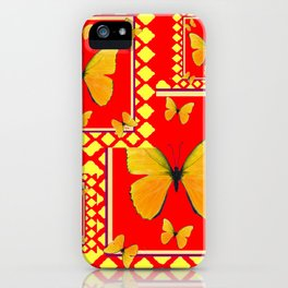 YELLOW BUTTERFLIES RED-YELLOW  PATTERNED  ART iPhone Case