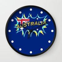 australia Wall Clocks featuring Australia by mailboxdisco