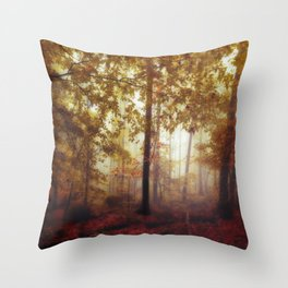 Rain Whispers - Fall Forest in Mist Throw Pillow