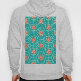 Dainty All Seeing Eye Pattern in Coral Hoody