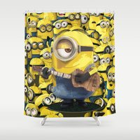 minions Shower Curtains featuring MINIONS by DisPrints