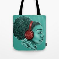 headphones Tote Bags featuring Headphones by KiraTheArtist