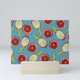 Pomegranate - Dragon Fruit Pattern turquoise Mini Art Print