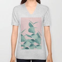 Eucalyptus Leaves Green Blush #1 #foliage #decor #art #society6 Unisex V-Neck