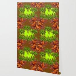 DECORATIVE GOLDEN BROWN FERN GARDEN ART Wallpaper