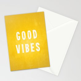Sunny Yellow and White Distressed Effect Good Vibes Stationery Cards