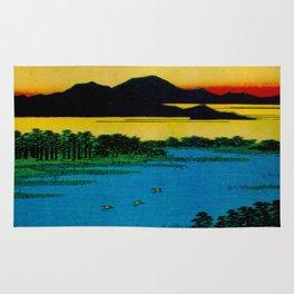Hiroshige, Sunset Contemplative Landscape Rug