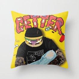 Getter burger head Throw Pillow