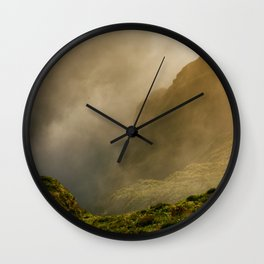 Dawn in Fogo crater Wall Clock