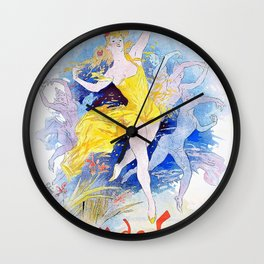 Jules Cheret - Folies Bergere, Fleur de Lotus - Digital Remastered Edition Wall Clock