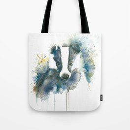 Badger in Blue and Brown Tote Bag