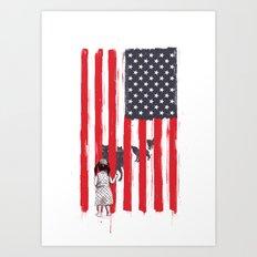 Little girl and wolves Art Print
