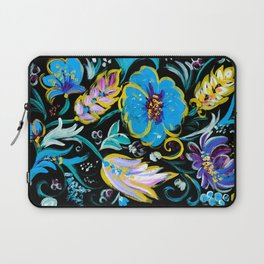 Colorful floral abstraction #4 acrylic painting , flower acrylic painting on a black background, Laptop Sleeve