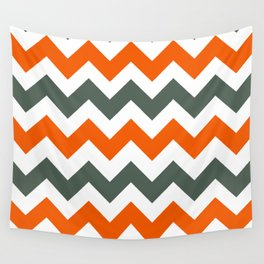 Chevron Pattern In Russet Orange Grey and White Wall Tapestry