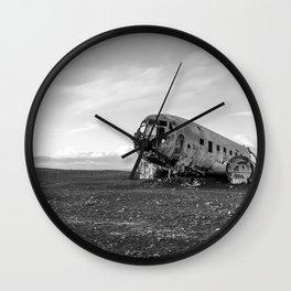 Crash site B&W pt.I Wall Clock