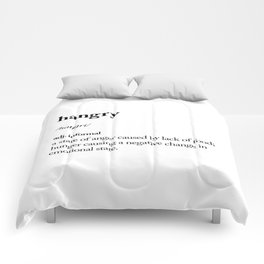Hangry black and white contemporary minimalism typography design home wall decor bedroom Comforters