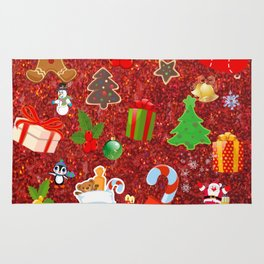 Cute Christmas Mix, red Rug
