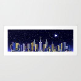 Future Cityscape 001 // Nightfall Art Print