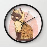 nan lawson Wall Clocks featuring Hip Cat by Nan Lawson