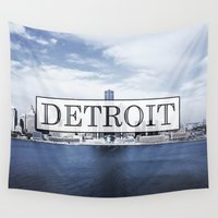 detroit Wall Tapestries featuring Detroit Typography by Evan Smith