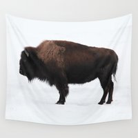 bison Wall Tapestries featuring Bison by Joe-LynnDesign
