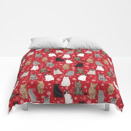 Cat red and white snowflakes festive winter gifts for cat person cat lady cat man christmas Comforters