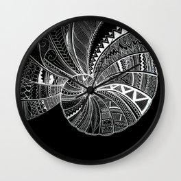 Doodle art seashell Wall Clock
