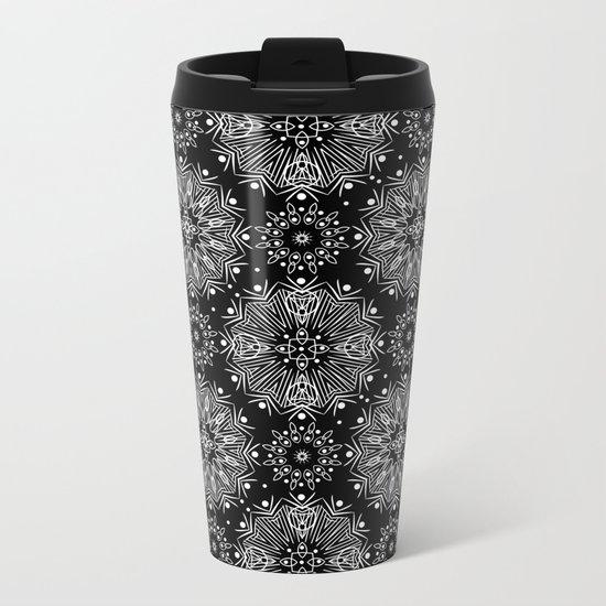 Black and white abstract pattern .14 Metal Travel Mug