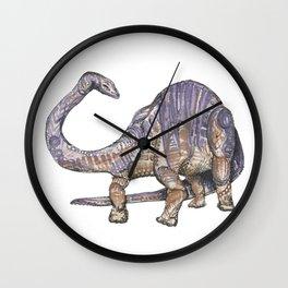Purple and Brown Diplodocus Dinosaur Wall Clock