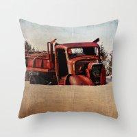 truck Throw Pillows featuring Survivor Truck by PamelasDreams